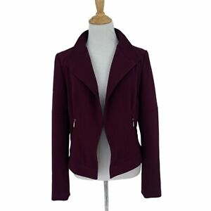 White House Black Market Stitch Shoulder Blazer Size 4 Burgundy Lined Open Front