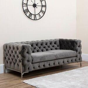Chesterfield Sofa Armchair Soft Velvet