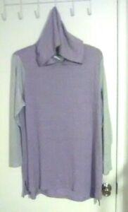 M Bobbie Brooks Woman/'s Black Long Sleeve Hi-Low Hooded Top Size
