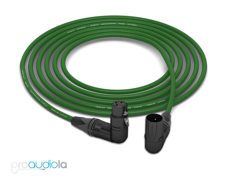 Mogami Quad 2534 Cable   Neutrik guld XLR Right-Angle   grön 35 Feet   35 Ft.