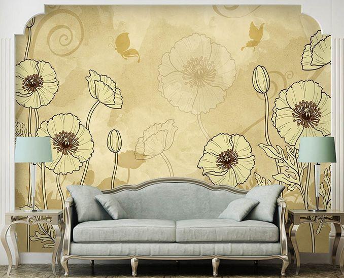 3D fiori luminosi Parete Murale Foto Carta da parati immagine sfondo muro stampa