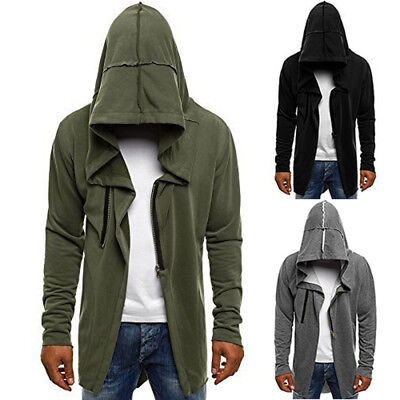 Fashion Trench Hooded Coat Mens Hoodie Sportswear Long Sleeve Coat Jacket Tops