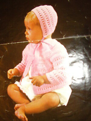 Knitted Matinee Coat,Dress,Bonnet,Booties,Mitts/&Shawl PATTERN.ONLY in 3 ply