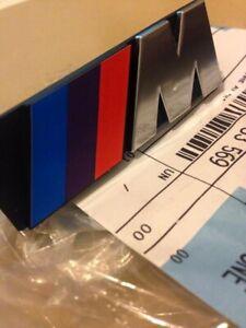 Logo BMW E30 Grille M Badge Original 72601933569 3x1 13/16x1 3/16in M3 M10 M20