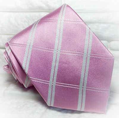Umile Cravatta Uomo Rosa Checks Plaid Seta Made In Italy Matrimonio / Business Rp€ 36 Volume Grande