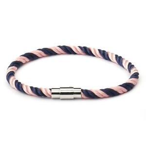 Azul-marino-y-rosa-pulsera-de-cuerda-del-ancla-cuerda-nautica-Plata-Cierre-Magnetico