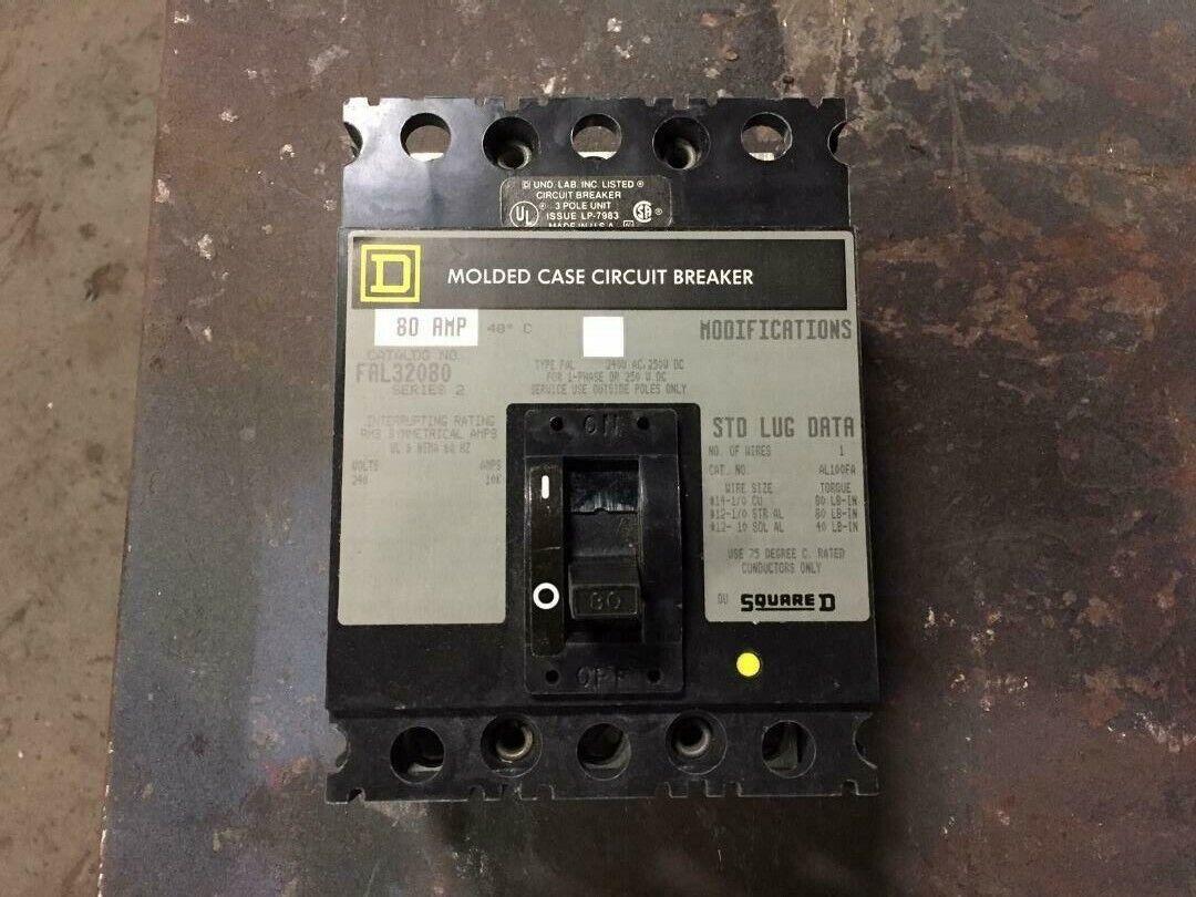Square D #FAL32080 3 pole 80 amps Molded Case Circuit Breaker In original box