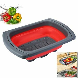 Charming Image Is Loading Over The Sink Collapsible Colander  Silicone Kitchen Retractable