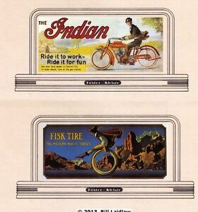 2-roadside-signs-set-30-in-N-or-Z-scale-Indian-Motorcycles-Fisk-Tires