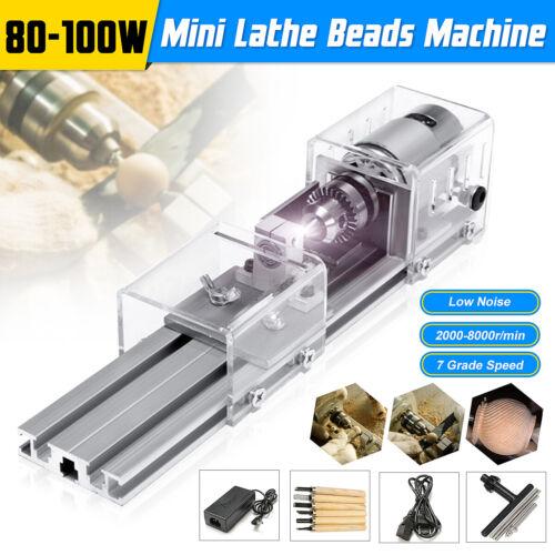 Mini Lathe Beads Polisher Machine for Wood Woodworking DIY Rotary Tool 24V 100W