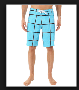 f8ed66a085 Image is loading New-Quiksilver-turquoise-plaid-board-shorts-swim-Electric-