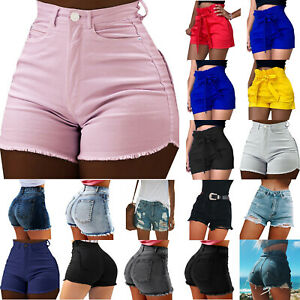 Women-Summer-Casual-Shorts-Belt-High-Waist-Stretch-Trousers-Hot-Pants-Plus-Size