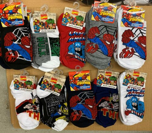 Avengers Hulk Spider-Man Thor X-Men Marvel Comics Boys Socks New 6-8 10 PAIRS!