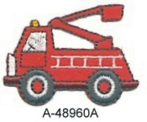 Red Fire Fighter Truck Engine Emergency Vehicle Embroidery ...