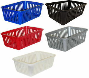 Image is loading Small-Plastic-Storage-Baskets-Home-Bedroom-Bathroom-Office-  sc 1 st  eBay & Small Plastic Storage Baskets Home Bedroom Bathroom Office Mini ...