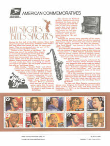 #447 29c Jazz and Blues Singers Stamps #2854-2861 USPS Commemorative Stamp Panel