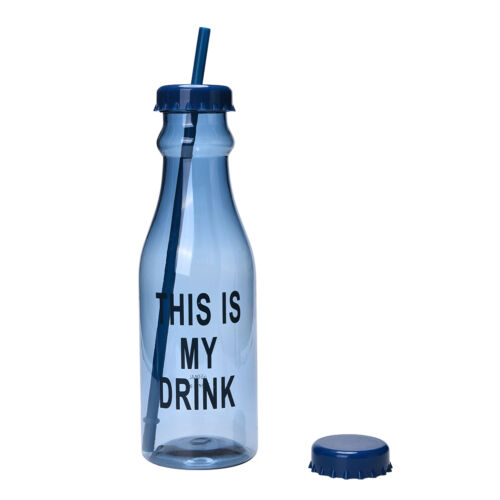 Portable Sport Travel Plastic Fruit Juice Water Bottle Cup with Straw JB