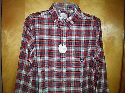 NWT Mens CHAPS Blue White Plaid Button Front Dress Shirt Sz M Medium $50