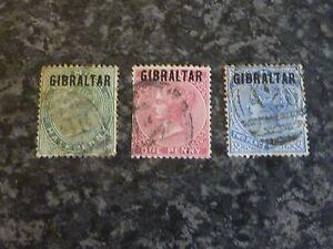 GIBRALTAR-POSTAGE-STAMPS-SG1-2-4-FINE-USED