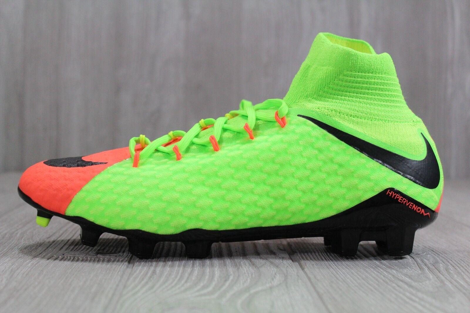 37 Mens Nike Hypervenom Phatal III DF FG Soccer Cleats Green Size 10 852554 308