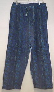 vtg-Claybrooke-BLUE-TEAL-NATIVE-TEAL-MC-Hammer-Pants-MED-muscle-beach-80s-90s-M