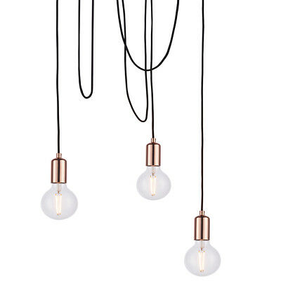 Multi Light Ceiling Pendant 3 Bulb Gloss Copper Industrial Adjustable Hang Hook 5056199806874 Ebay