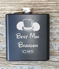 Flask Disney Inspired Personalized Best Man Engraved Groomsman Groomsmen