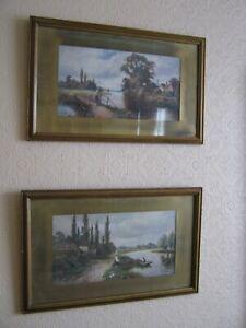 Pair Of Original Old Vintage Landscape Prints In Gold Wood Frame 55 X 34 5 Cm Ebay