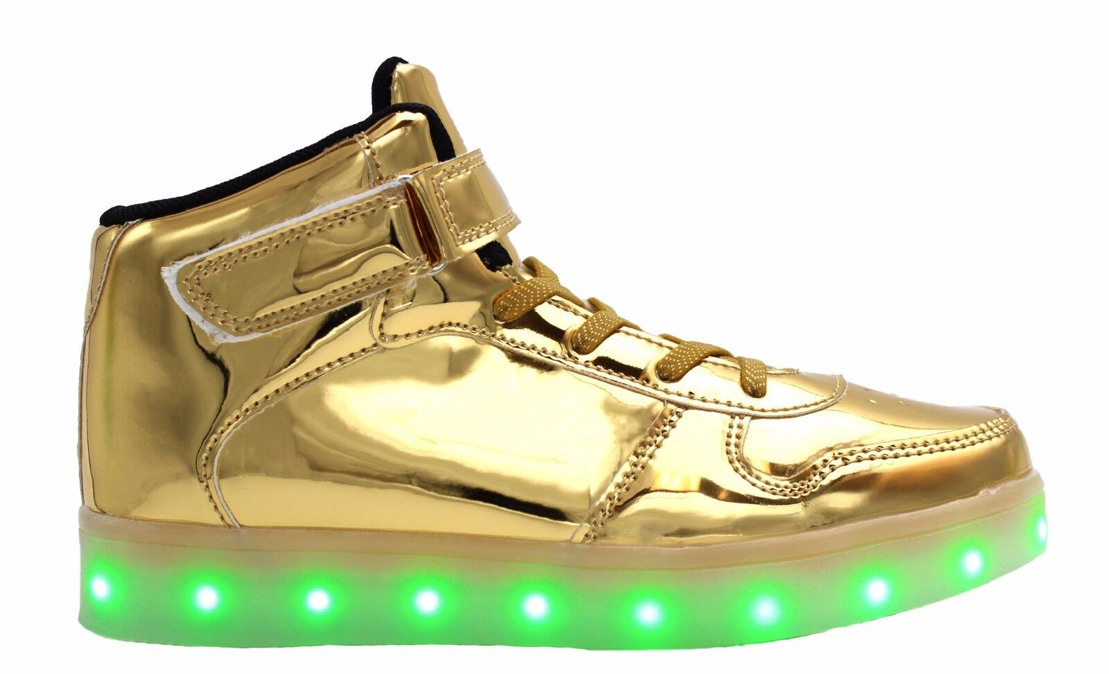 Details about Galaxy LED Shoes Light Up High Top Strap & Lace Women's Sneakers (Shiny Gold)