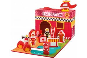 Joueco-Wooden-Fire-Station-Play-Set-Preschool-Role-Play-Educational-Wooden-Toy