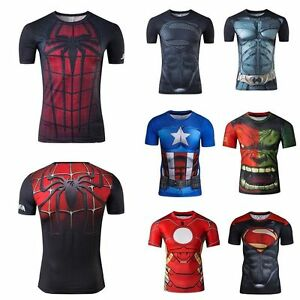 Men Superhero T-shirt Compression Sport Fitness GYM Muscle Jersey Muscle Tee Top