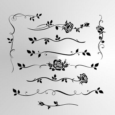 SET OF ROSES Small Sizes A5 A4 A3  Reusable Stencil Shabby Chic Floral Rose3