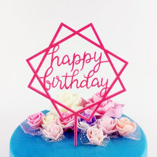 Novelty Happy Birthday Acrylic Cake Topper Decor Kids Baby Party Cakes Insert