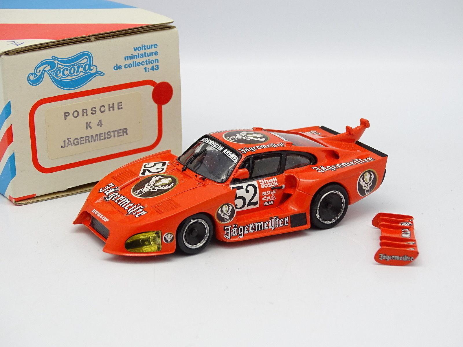 muy popular Record Kit Montado Resina 1 43 - - - Porsche 935 K4 Jagermeister  precios mas baratos