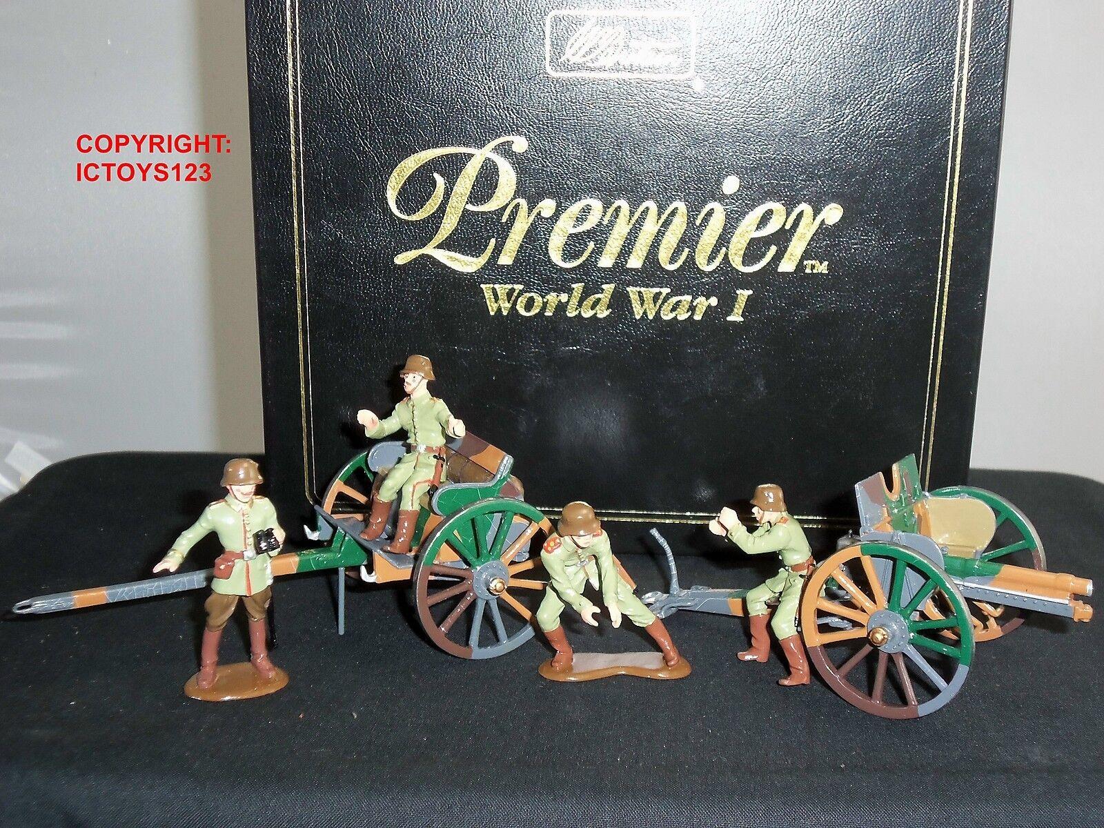 BRITAINS 41024 WW1 GERMAN 7.7MM GUN + LIMBER 4 MAN DETACHMENT TOY SOLDIER SET
