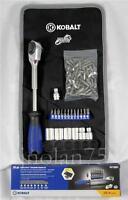 Kobalt 20 Piece Double-drive Ratchet Socket Set +bonus Roll Pouch & 50 More Bits