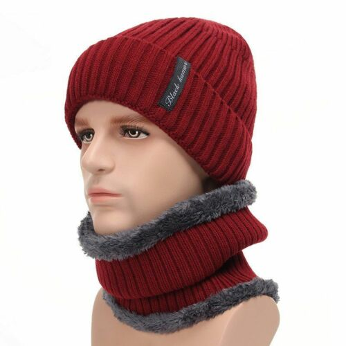 Hiver Bonnet Et écharpe Ensemble Pour Hommes Tricoté Bonnet Chaud Chapeaux Homme Épais Jeannie