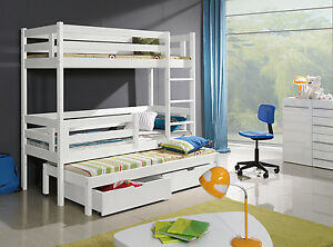 New Triple Sleeper White Pine Solid Childrens Bunk Beds Mattresses