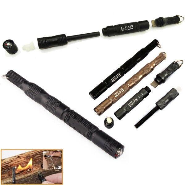 Leix EDC Gear Tool Magnesium Bar Flint Fire Starter Waterproof Survival Camp Kit