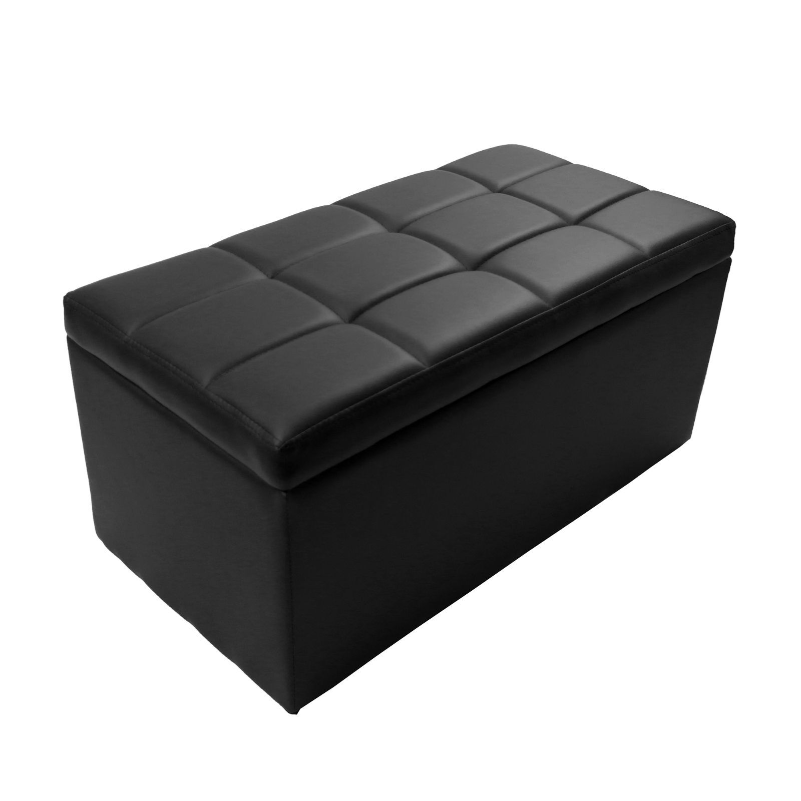 Black Faux Leather Storage Foot Rest Lift Top Bench Ottoman Coffee Table Unfold Ebay
