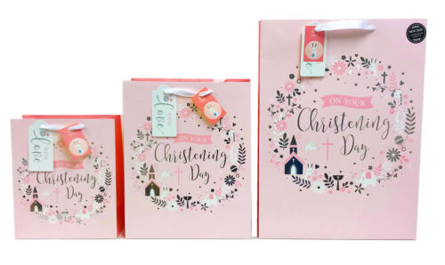 Christening Gift Bags Baby Girl New Large Medium XL Pink Present Wrap+Free Tape