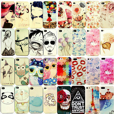 For Apple Iphone 4 4S 5 5S 5C Various Plain Pattern PC Hard Case Cover Back Skin