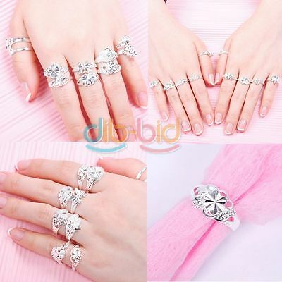 Woman Wholesale Lots 10PCS Fashion Sterling Silver Mixed Design Ring Set 01 KZAU