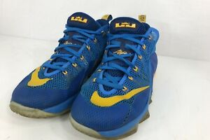 e83382317cfa Nike Lebron Mens Size 10 XII Low Entourage Photo Blue Yellow 724557 ...