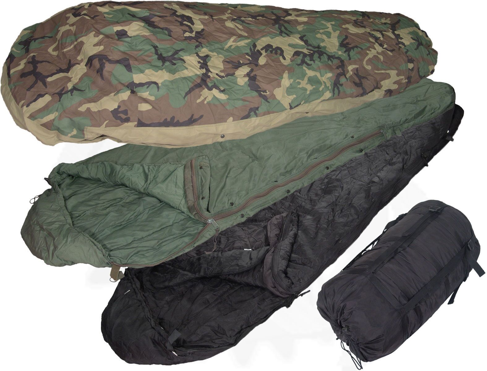 US Military 4 Piece Modular Sleeping Bag Sleep System   Used condition Needs TLC