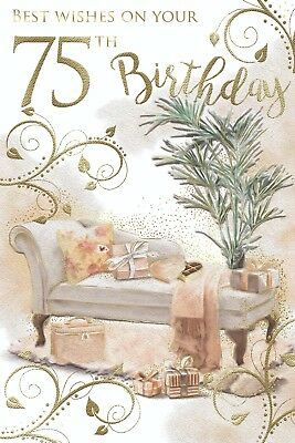 75 75th Chaise Longue Presents /& Gifts Design Happy Birthday Card Lovely Verse