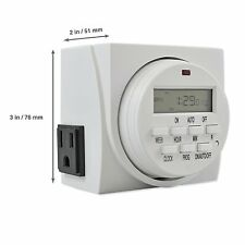 Comforday 7Day Programmable Digital Timer Plug with 3prong Two Grounded Outlets