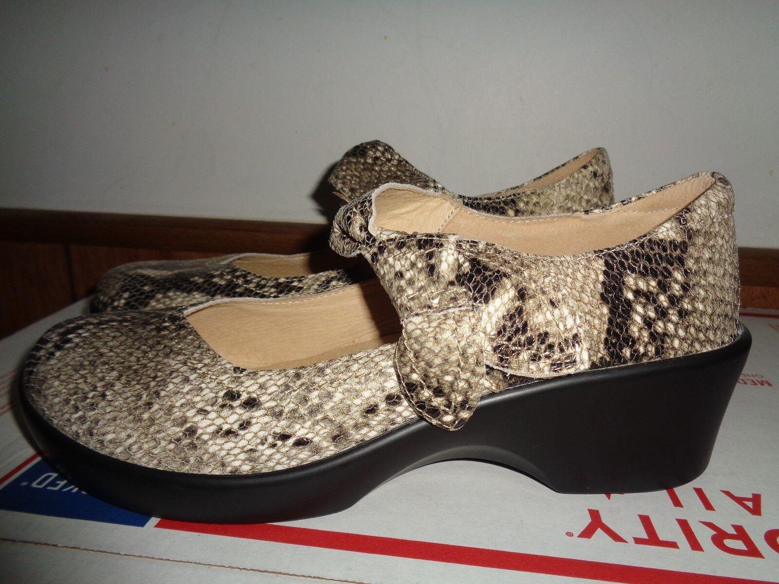 Nueva Alegria Mary Jane zapatos albarcas Para Para Para mujeres Cuero Estampado De Serpiente 42 11 1 2  almacén al por mayor