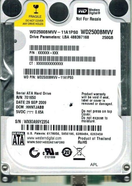 WESTERN DIGITAL 250GB WD2500BMVV-11A1PS0 DCM: HHNTJABB