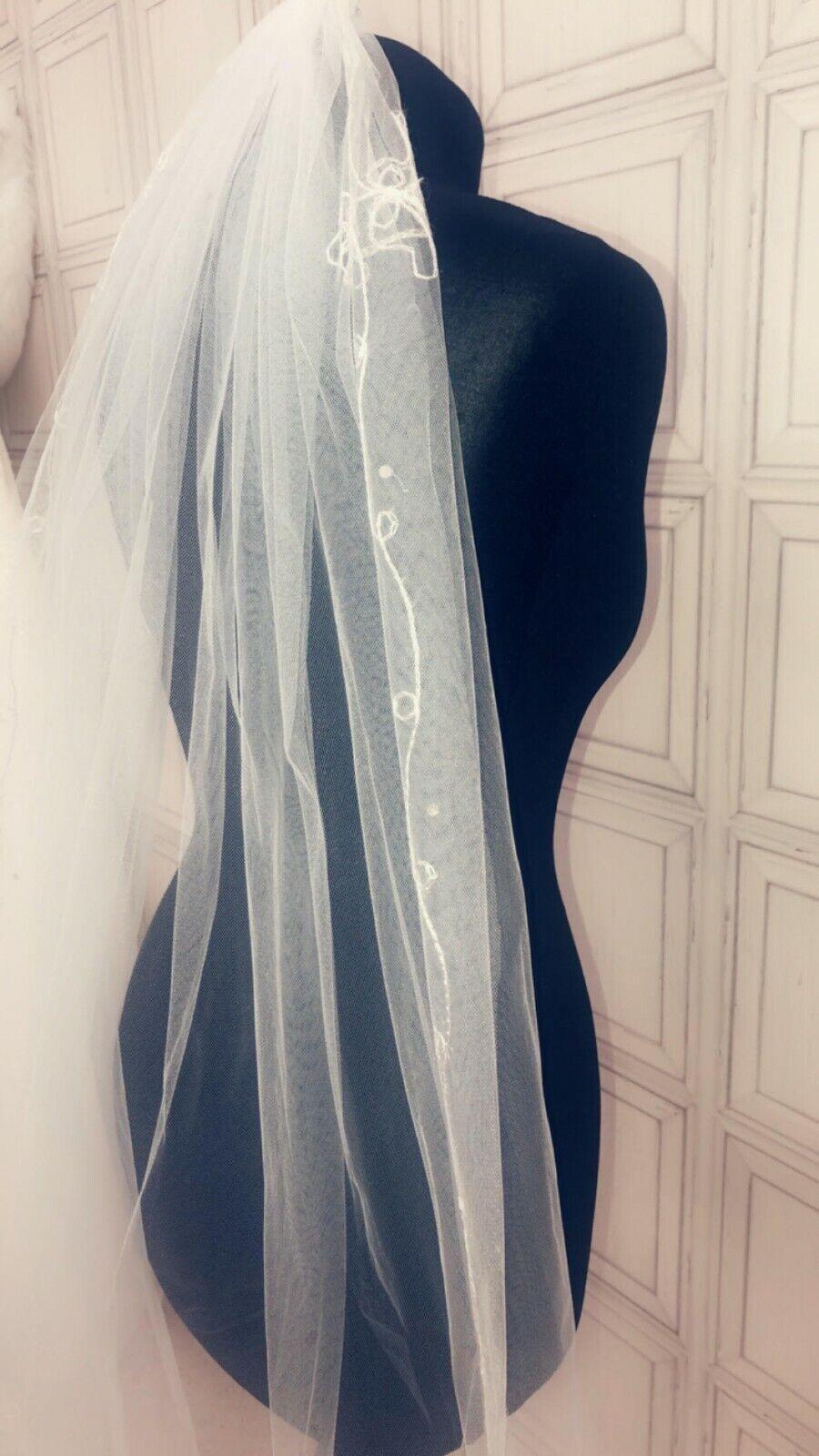 New 1 Tier Knee Length White Ivory Flower Lace Bridal Wedding Uk